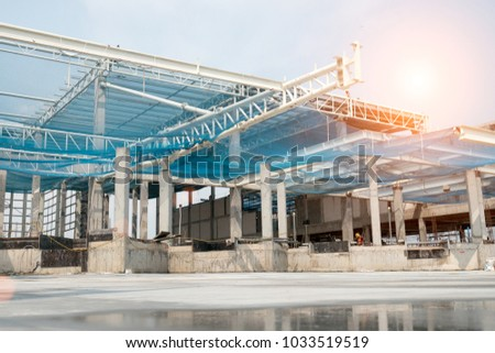 Steel truss canopy and safety net protection construction warehouse project & Steel Truss Canopy Safety Net Protection Stock Photo (Edit Now ...