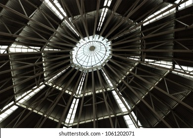 The steel truss structure of spider web pattern roof that built for make more stronger in the high building tower structure.
