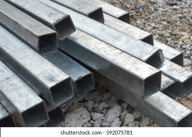 Steel tube, square high carbon metal tube background for heavy industry