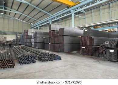steel in warehouse