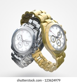 steel watch with gold watch
