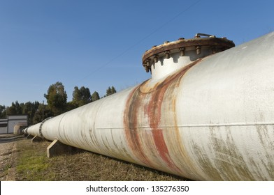 Steel water pipeline in Vigia dam supplying drinking water to the county of Redondo, Alentejo, Portugal