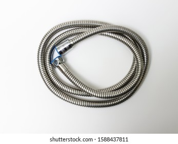 Steel water shower hose isolated on white background.