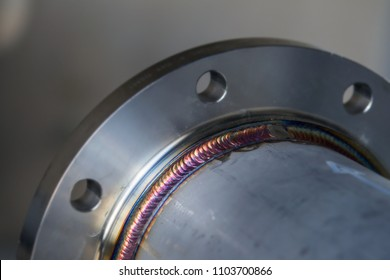 Steel weld joined by arc welding process . rainbow color.with copy space