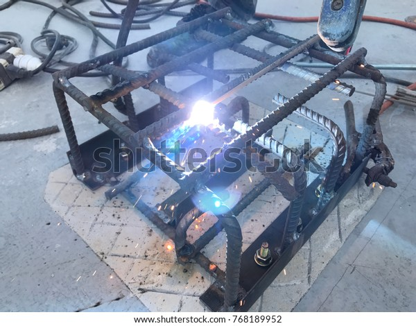 Steel Welding Making Footing Tower Transmission Stock Photo