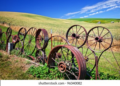 Steel Wheel Fence Green Wheat Grass Fields Blue Skies Palouse Washington State Pacific Northwest