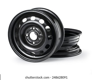 Steel wheel rim on white background with clipping path