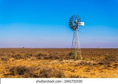 Steel Windpump in the semi desert Karoo region in South Africa