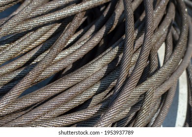 steel wire or steel rope or steel wire rope cable or steel wire rope sling background.Sling Cable Metal Rope Isolated White Background