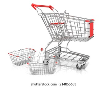 Steel wire shopping baskets and shopping cart isolated on a white background.