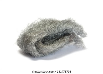Steel wire wool isolated on white