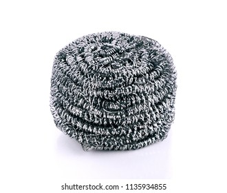 A steel wool dish washing on a white background