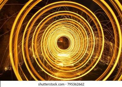 Steel Wool Spinning Circles Long Exposure Photo