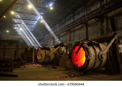 Steelworkers at the steel plant, metal melting, steel. Metallurgical industry