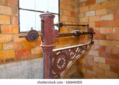 steelyard roman balance romaine grunge antique in a brickwall
