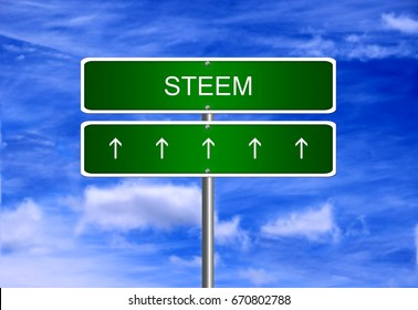 Steem cryptocurrency price business mining wallet icon security trading currency exchange.