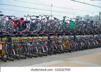 Steenwijk, Netherlands - APRIL 12, 2018: Double deck bicycle parking at railway station.