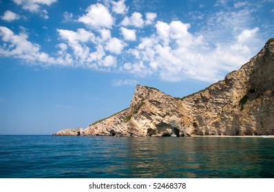 Steep cliff, Paradisos beach, Chomi, Greece