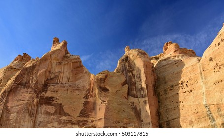 steep cliffs above the head of sinbad native american pictographs in the san rafael swell near green river,  utah
