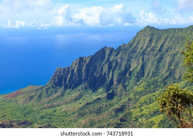 Steep cliffs covered with lush. green rainforest rise above the Kalalau Valley and the blue Pacific Ocean on Na Pali Coast, Kauai, Hawaii