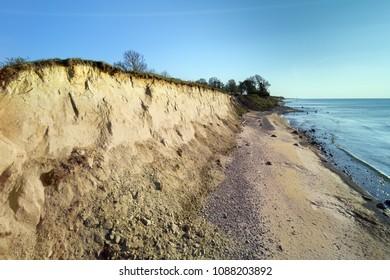 Steep coast of Baltic sea, western Latvia.