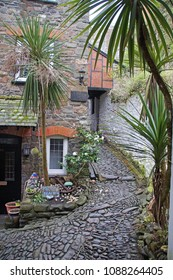 Steep cobbled street in the small fishing village of Clovelly in the northern part of Devon, England