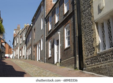 Steep cobblestone street known as Keere Street. Lewes. East Sussex. England.