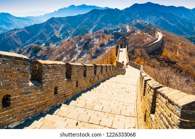 Steep downhill stretch in the Great Wall with surrounding mountains, Mutianyu, Beijing, China