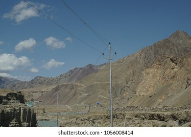 Steep eroded barren mountains along the Indus River, Ladakh, India