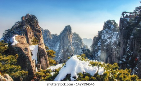 The steep granite cliffs, Huangshan pines and rhododendrons of the Huangshan Mountains (also called Yellow Mountains) of Anhui Province, China.