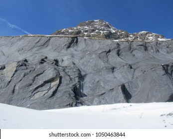 Steep granitic wall overlooking Petit Col Ferret Pass at the Swiss and Italian border, between Valais and Aosta Valley
