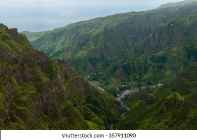 Steep green valley high above in the mountain of cape verde island