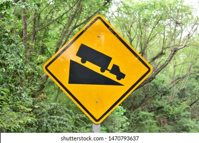 Steep Hill Descent, Traffic sign from Thailand country