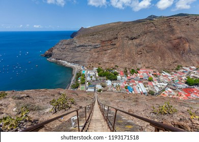 steep Jacobs ladder in Jamestown, capital of St. Helena Island, south atlantic