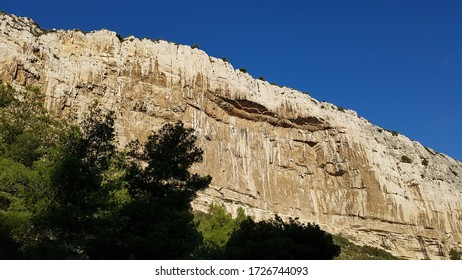 Steep Limestone Cliffs in the Bay of Calanque de Sugiton in Calanques National Park near Marseille and Cassis, Provence, Southern France, Europe