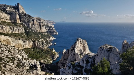 Steep Limestone Cliffs in the Bay of Calanque de Sugiton in Calanques National Park near Marseille and Cassis, Southern France, Provence, Europe