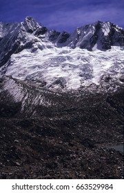 Steep mountain peaks and glaciers, Cordillera  Blanca, Andes mountains of Peru, South America