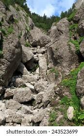a steep mountain valley, Bucegi Mountains, Romania