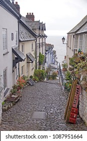 The steep pedestrianised cobbled main street i the small village Clovelly in the district of Devon, England
