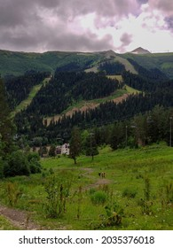 Steep road to the mountains of the resort village of Arkhyz, Karachay-Cherkess region, Russia