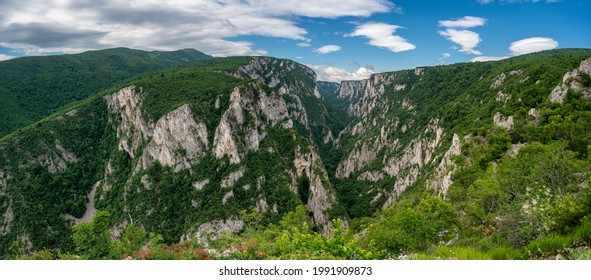 Steep rocky cliffs of Lazar's Canyon (Lazarev kanjon), the deepest and longest canyon in eastern Serbia, near the city of Bor - Shutterstock ID 1991909873