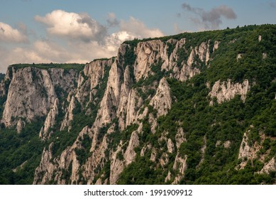 Steep rocky cliffs of Lazar's Canyon (Lazarev kanjon), the deepest and longest canyon in eastern Serbia, near the city of Bor - Shutterstock ID 1991909912