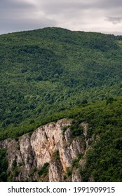 Steep rocky cliffs of Lazar's Canyon (Lazarev kanjon), the deepest and longest canyon in eastern Serbia, near the city of Bor - Shutterstock ID 1991909915