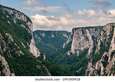 Steep rocky cliffs of Lazar's Canyon (Lazarev kanjon), the deepest and longest canyon in eastern Serbia, near the city of Bor - Shutterstock ID 1991909918
