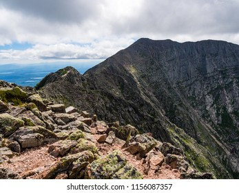 Steep rocky slopes of a mountain, Katahdin in Baxter State Park.  Knife's Edge trail from Pamola Peak to Baxter Peak.