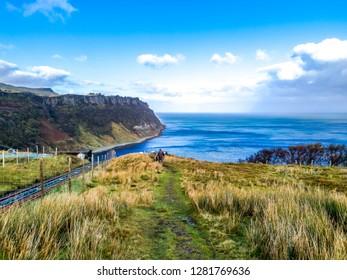 Steep sea cliffs at Bearreraig Bay - Isle of Skye , Scotland.