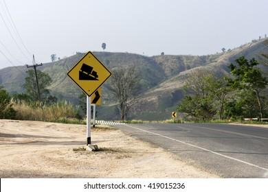 An Steep sign symbol warning dangerous