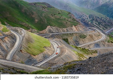 Steep slope of Pamir Highway (M41 Highway) at Sary-Tash in Alay valley, Osh region, southern Kyrgyzstan, near Tajikistan border.