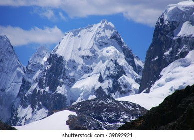 Steep snowy faces on mountains of the  Cordillera Huayhuash, Andes,  Peru, South America