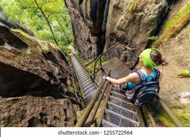 Steep stairs in Bohemian-Saxon Switzerland hiking area, Germany